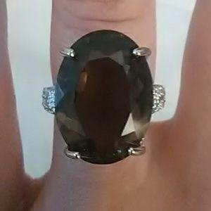 Jewelry - Genuine Smoky Topaz Diamond Sterling Silver Ring